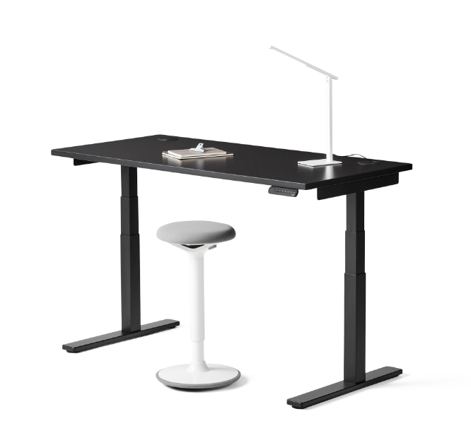 fully black remi standing desk with black frame with grey and white luna and white aleris lamp