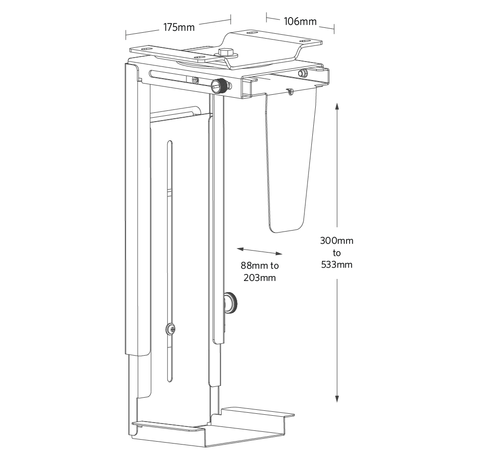 fully-swivel-cpu-holder-metric-dimensions