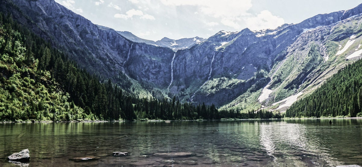 Mountain view with a lake