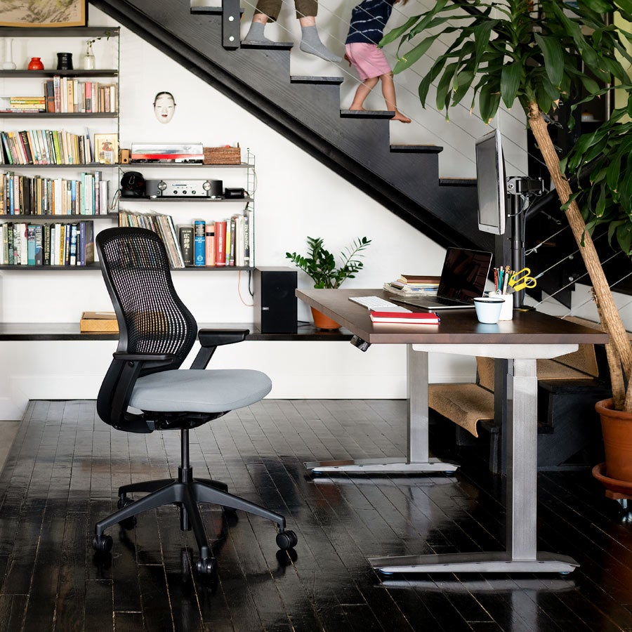 fully staircase image with jarvis standing desk, regen chair and jarvis monitor arm