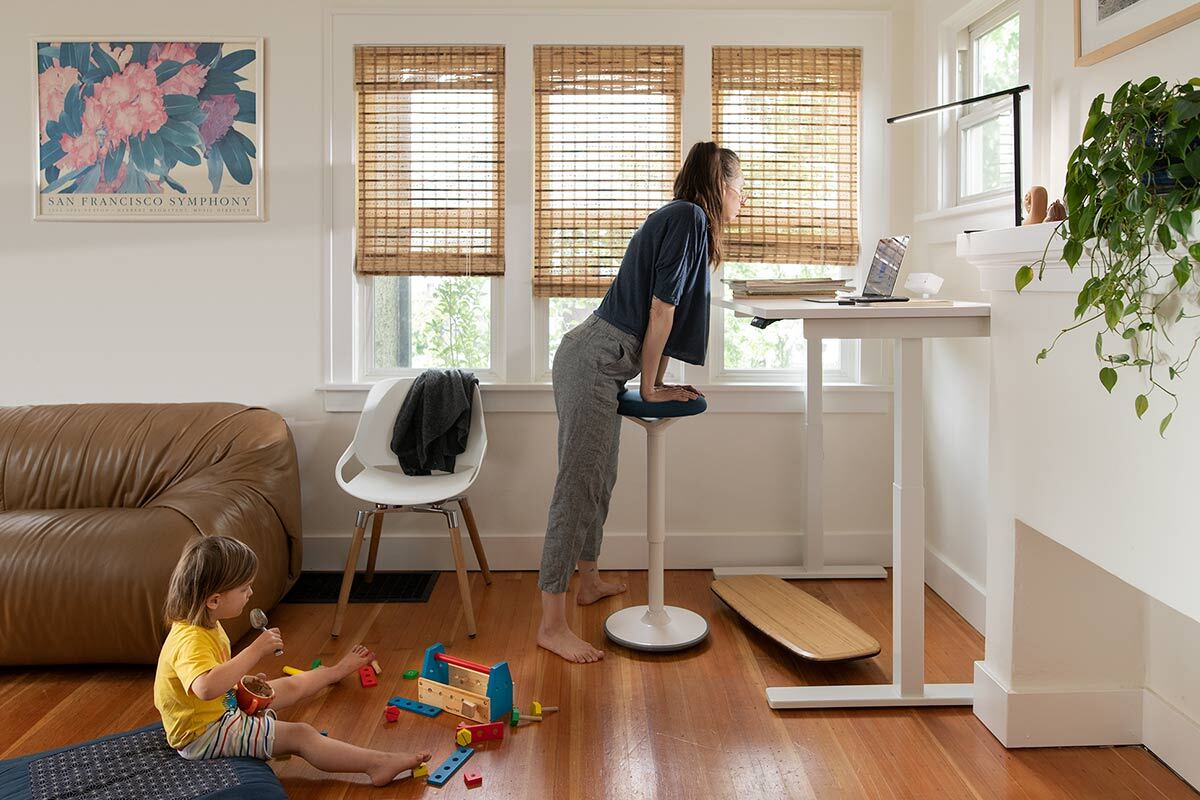 Home office with Jarvis standing desk and tic toc chair