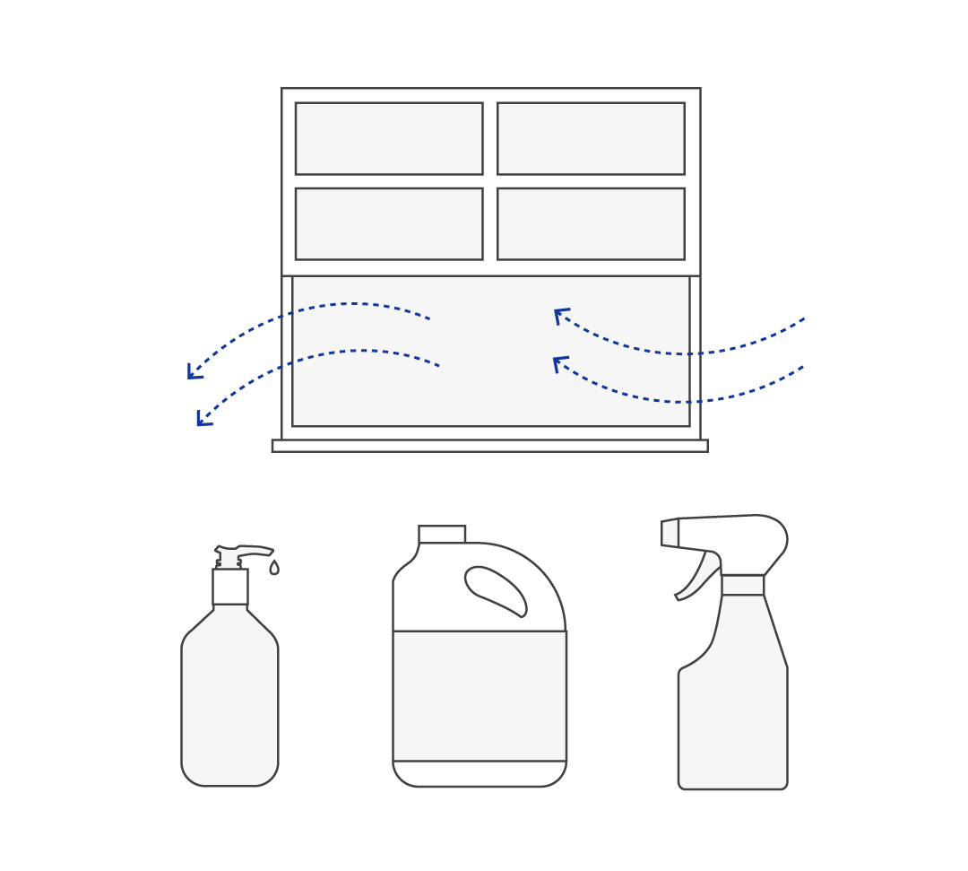 Diagram showing open windows and various cleaning and disinfecting products