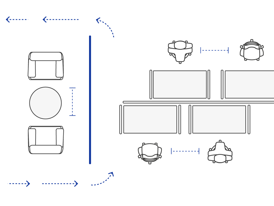 Diagram showing safe flow and directional guides in an office space