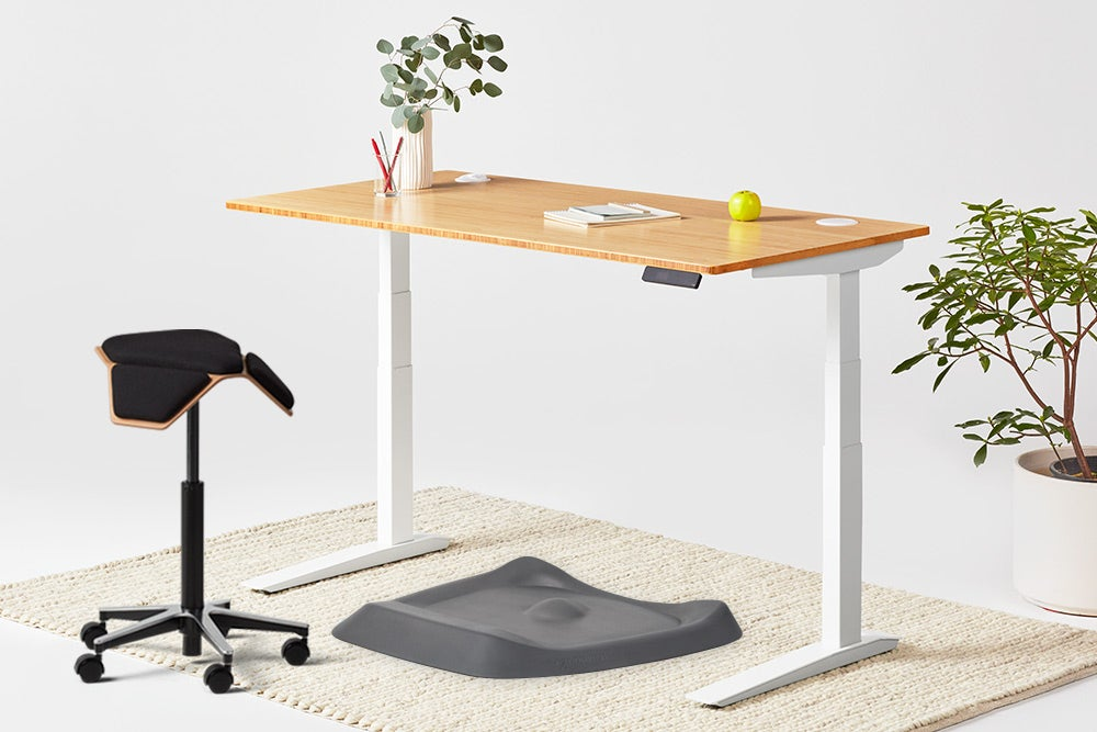jarvis bamboo standing desk white frame illoa and topo anti fatigue mat