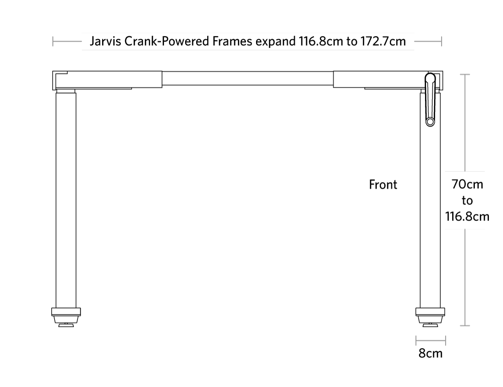 fully jarvis crank powered standing desk frame only dimensions