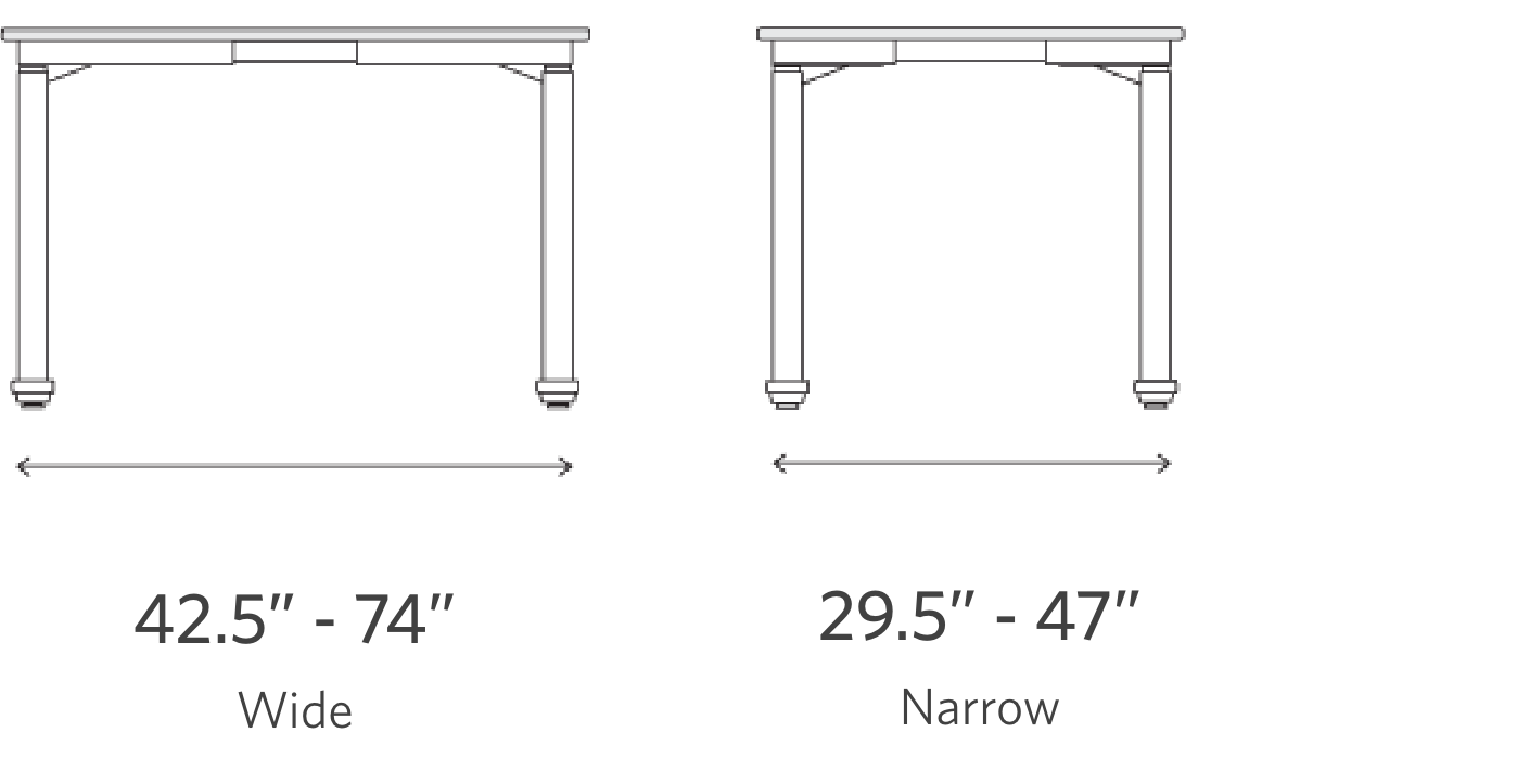 fully jarvis frame width wide 42.5 to 74 inches and narrow 29.5 to 47 inches