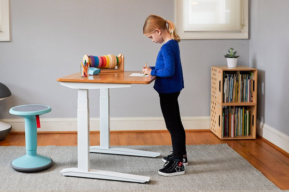 jarvis standing desk for kids workspace bamboo desktop and white frame