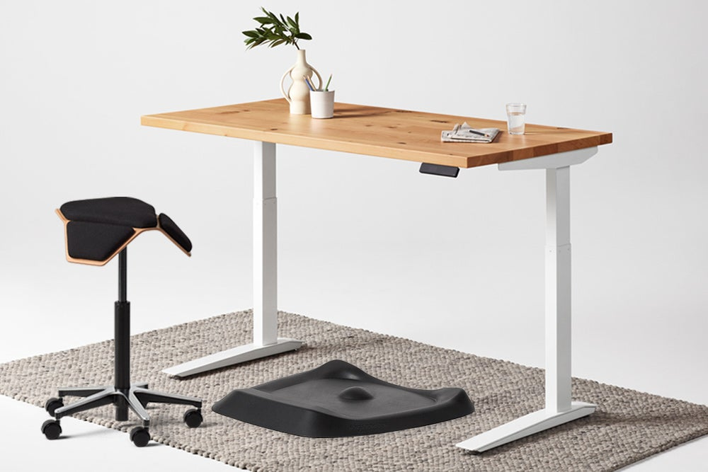 jarvis reclaimed standing desk white frame ILOA stool and topo anti fatigue mat
