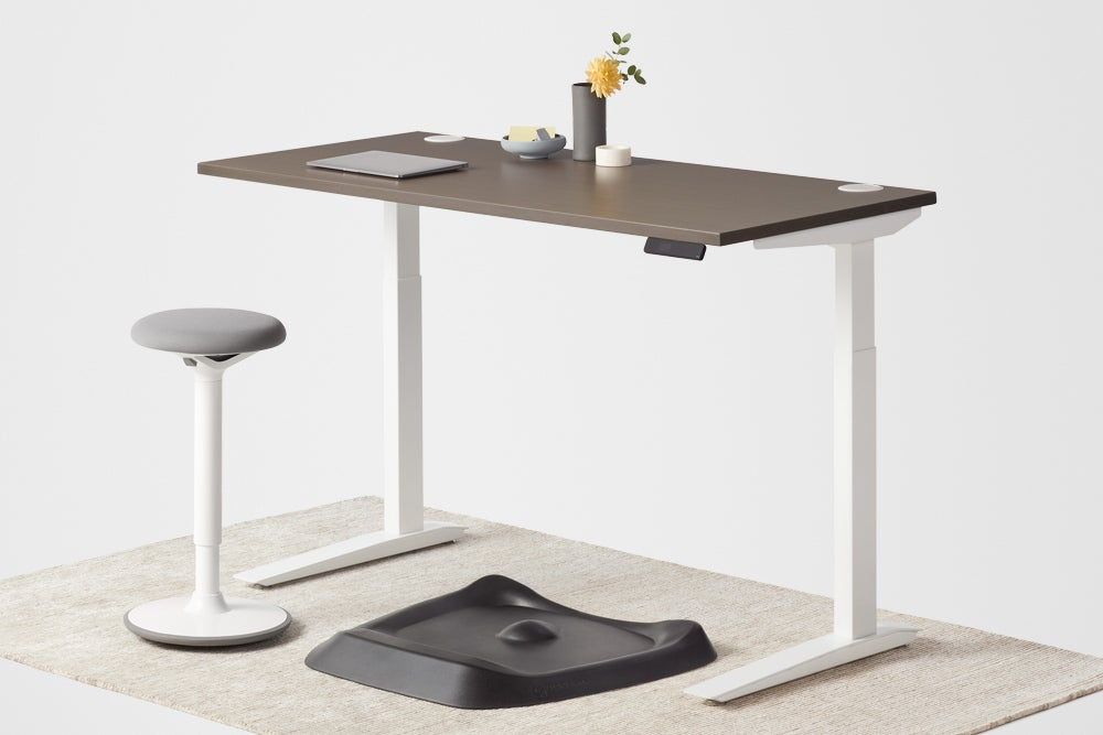 jarvis wood veneer standing desk white frame luna stool and topo anti-fatigue mat