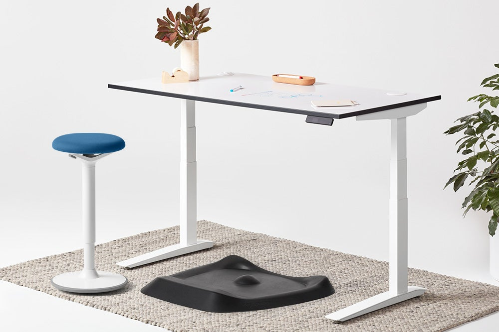 jarvis whiteboard standing desk white frame luna stool and topo anti-fatigue mat