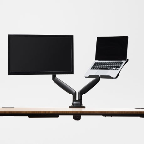jarvis dual monitor with laptop tray black