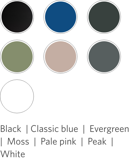 designer ply desktop swatch color options: black, classic blue, evergreen, moss, pale pink, peak, and white