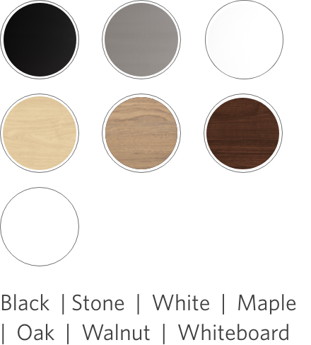 jarvis laminate swatch color options: black, stone, white, maple, oak, walnut, whiteboard