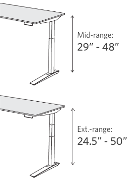fully jarvis height ranges mid range 29 inches to 48 inches,  extended range 24.5 inches to 50 inches