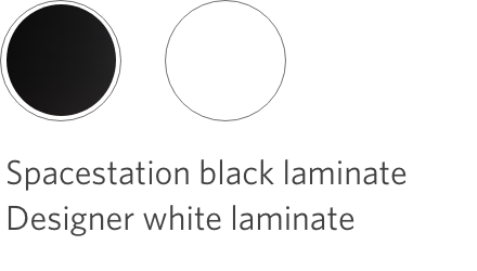 spacestation black and designer white laminate options