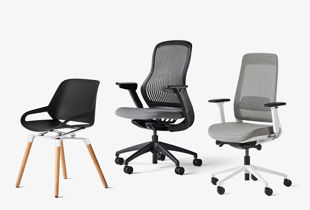 numo black seat wooden base, regeneration chair by knoll grey upholstery black base, and fully desk chair grey upholstery with white base