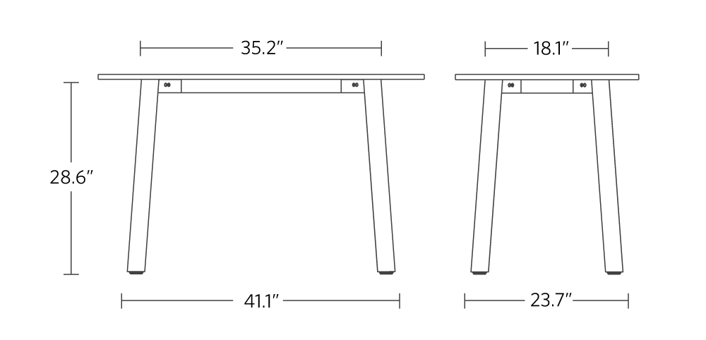 """Boden seated height frame small. 35.2"""" width 18.1"""" depth 28.6"""" height 41.1"""" between frame legs and 23.7"""" in depth between frame legs"""