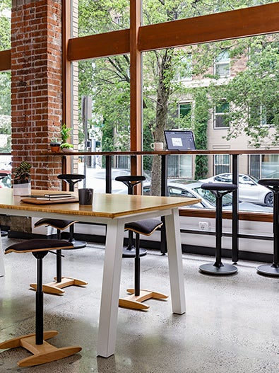 Fully tic toc chair luna stool and colbe picnic table in coworking space