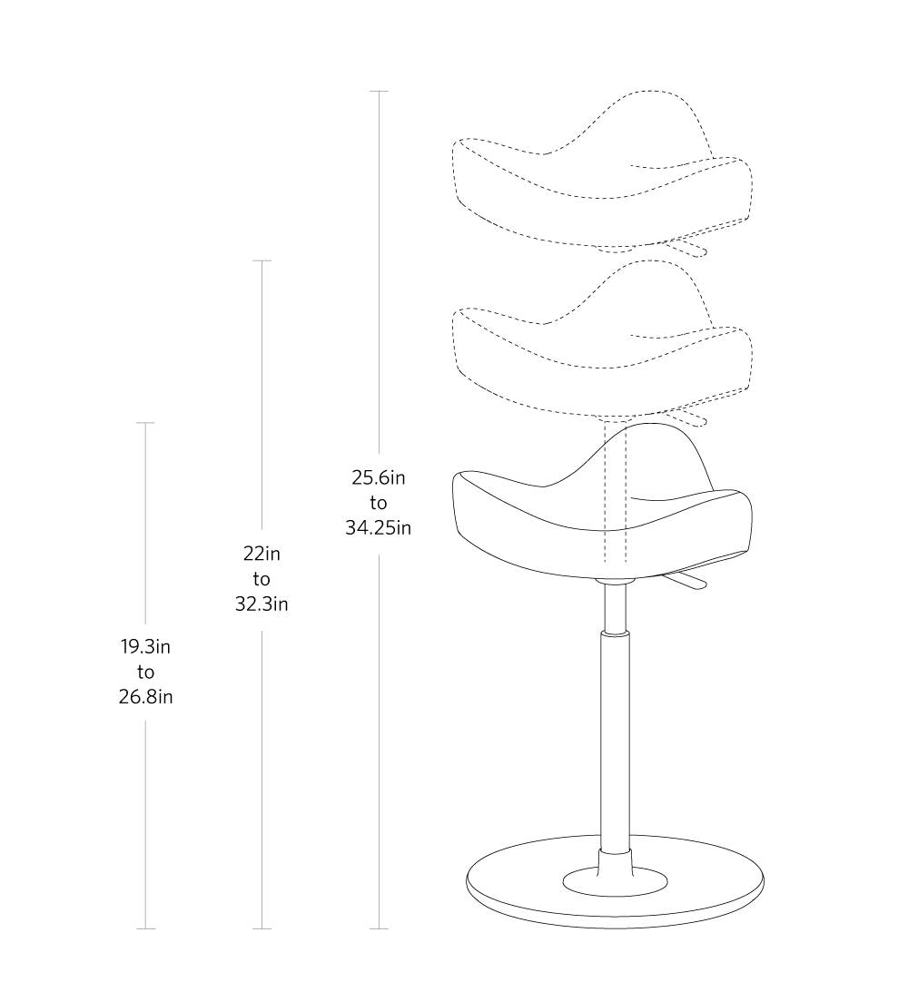 fully move stool by varier dimensions